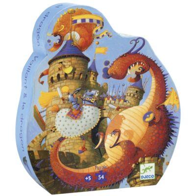 Formadobozos puzzle, Vaillant és a sárkány (Djeco, 7256, 54 db-os kirakó, 5-8 év)