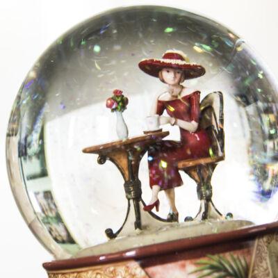 Zenélő hógömb, Kávézó hölgy (Musicbox, ajándéktárgy, 3-99 év)