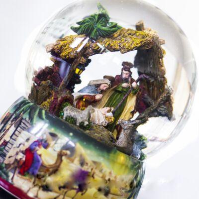 Zenélő hógömb, A Szent Család (Musicbox, ajándéktárgy, 3-99 év)