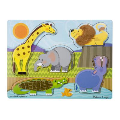 Tapintós formaberakó, Állatkert (Melissa & Doug, fa bébijáték, 2-4 év)