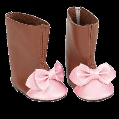 Our Generation, Baba cipő, barna-rózsaszín masnis csizma (baba ruházat, 3 évtől)