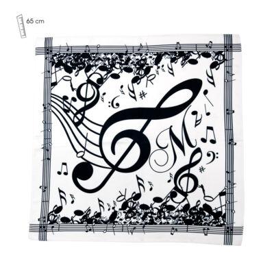 Fekete-fehér, hangszeres kendő (65x65 cm, zenei ajándéktárgy)
