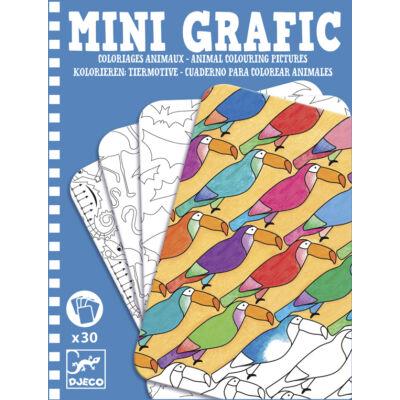 Mini Grafic, Állatok (Djeco, 5382, színező úti játék, 5-12 év)