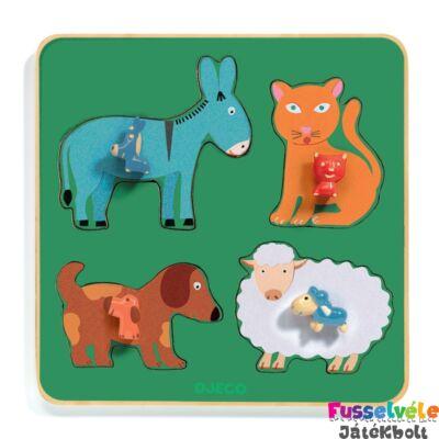Fa formaillesztő, formaberakó, Family Farm (Djeco, 1061, 4 db-os fa bébijáték, 1-2 év)