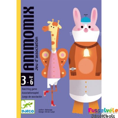 Animomix- Állati zűrzavar (Djeco, 5146,  kártyajáték, 6-99 év)