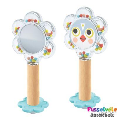 BabyFlower bébicsörgő tükörrel (Djeco, 6118, fa bébijáték, 0-2 év)