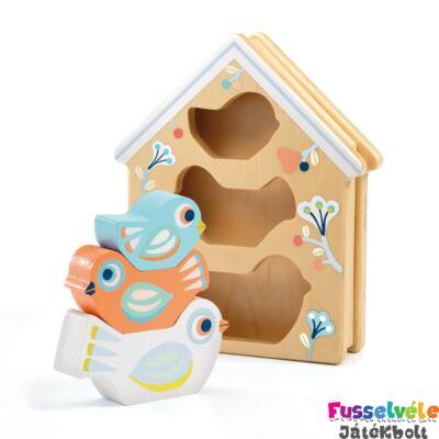 Formaberakó Madárkák - BabyBirdi (Djeco, 6123, fa bébijáték, 1-3 év)