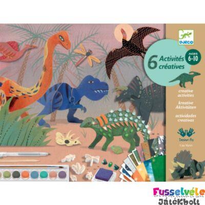 A dinók világa, kreatív készlet 6 technikával fiúknak (Djeco, 9331, kreatív játék, 6-12 év)