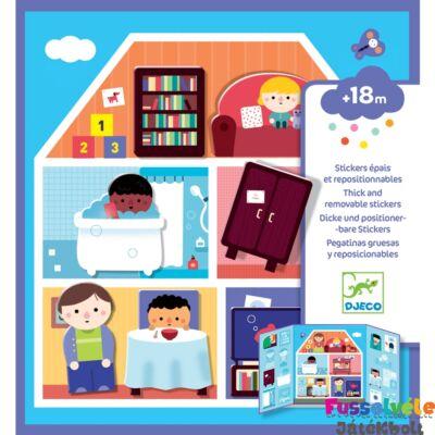 Újraragasztható matricás könyv, A házban, (Djeco kreatív játék - 9072, 18 hó-4 év)