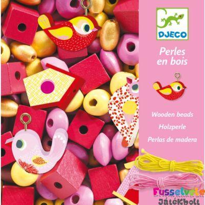 Wooden beads, Bird (Djeco madaras ékszerkészítő kreatív szett, 9809, 4-8 év)