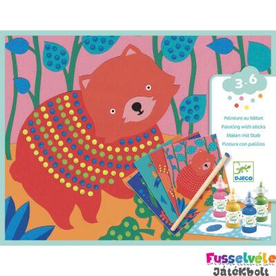 Képfestés pöttyökkel Pöttyös állatok, Djeco kreatív képkészítő szett (3-6 év)