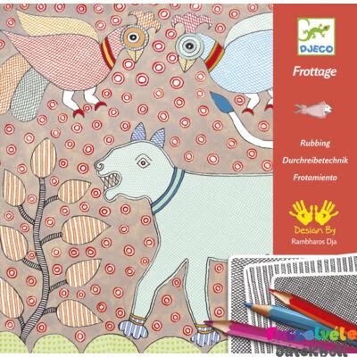 Satírozós színező, Mítikus állatminták (Djeco, 8987, kreatív kifestő, 4-8 év)