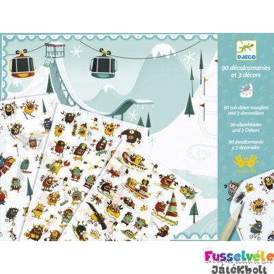 Satírozós játék, Szörnyek a jégen (Djeco, 9563, kreatív készlet, 3-8 év)