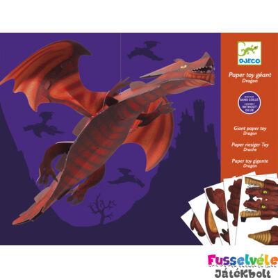 Origami, Kirigami, 3D óriás hajtogató - Sárkány (Djeco, 9677, kreatív játék, 9-12 év)