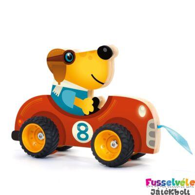 Terreno Car (Djeco húzós mozgásfejlesztő bébijáték fából - 6241, 1-3 év)