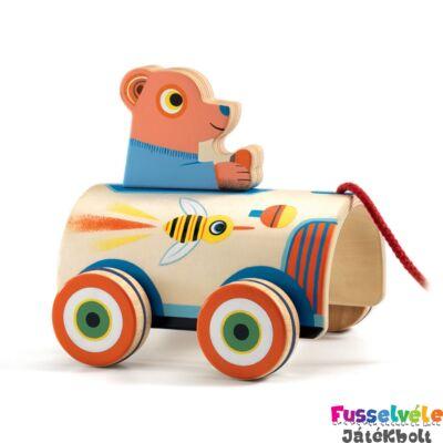 RoliMax autós maci (Djeco húzós mozgásfejlesztő bébijáték fából - 6244, 1-3 év)