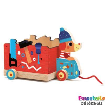Jo Truck (Djeco húzós mozgásfejlesztő bébijáték fából,6257, 1-3 év)