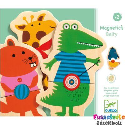 Mágneses puzzle játék, Belty (Djeco, 3114, állatos 2 db-os kirakó, 2-5 év)