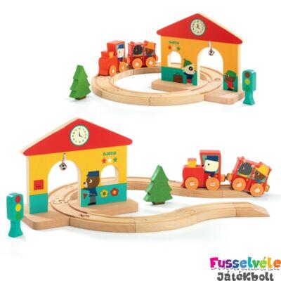 Felfedező játék - Minivasút (Djeco, 6389, fa bébijáték, 1-3 év)