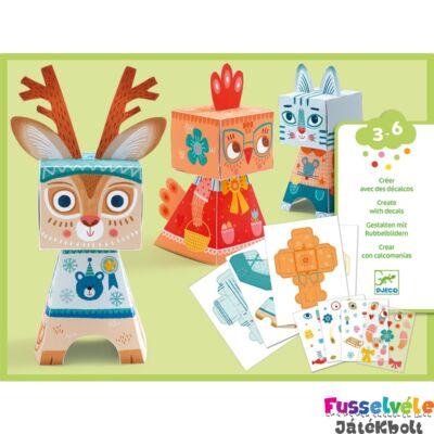Origami, Kirigami, 3D hajtogató,  Állatok (Djeco, 9041, kreatív játék, 3-6 év)