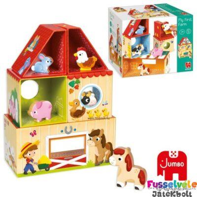 Állatkák a farmon, fa szerepjáték, építőjáték (GL, 1-4 év)