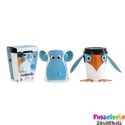 Karton építő, Viziló és pingvin (Makedo, kreatív építőjáték, 3-14 év)