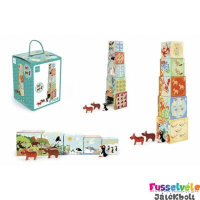 Toronyépítő kocka és puzzle A világ állatai, bébi építőjáték (SC6181118, 1-3 év)
