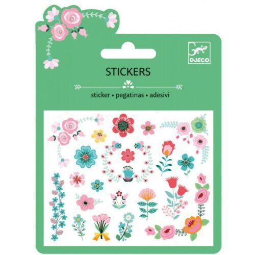 Csillámos matrica, mini, Virágok (Djeco, 9763, kreatív játék, 3-10 év)