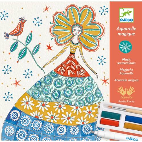 Aquarellceruzás színező műhely -Romantikus virágok (Djeco, 8611, kreatív játék, 9-15 év)