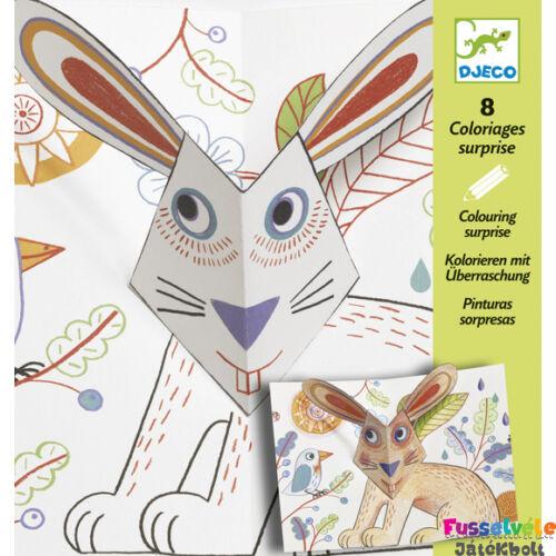 3D-s kép színező, Állatok (Djeco, 9639, kreatív játék, 3-6 év)