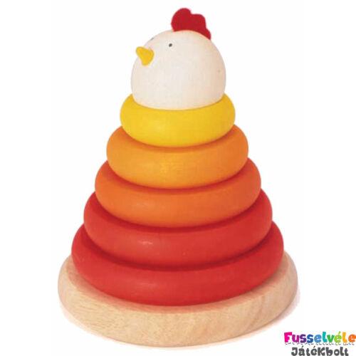 Montessori torony, Csirke (Djeco, 6303, fa bébijáték, 1-3 év)