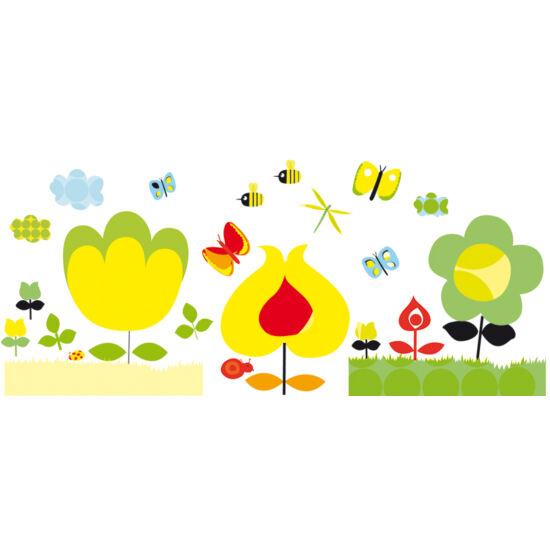 Újraragasztható falmatrica, Sárga virágok (Djeco, 4532, gyerekszoba dekor, 0-12 év)